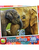 Puzzle Bug 100 Piece Puzzle ~ Elephant Cuddle