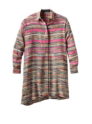 THAKOON Women's Crayon Stripe Print Long Sleeve Shirt Dress (Multi)