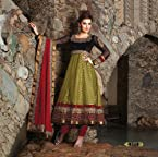 Black/Mehendi Jacquard Suit with Dupatta-6519