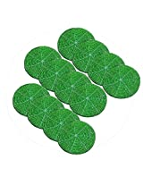 AsiaCraft Green Décor Indian Handmade Beaded Coffee, Tea Coaster 4.2 Inches Set of 12