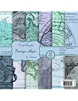 CrafTangles Scrapbook & Craft paper pack - Vintage Maps (12 by 12 Patterned Paper)
