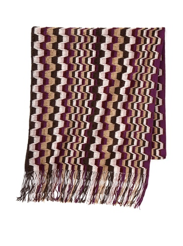 Missoni Women's Blocked Stripe Scarf, Purple/Brown