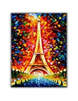 TIA Creation Eiffel Tower Canvas 0166 Print on Cotton Canvas 22inch x 31inch