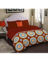 Portico New York Cadence Abstract Double Bedsheet with 2 Pillow Covers - King, Aqua (9043132)