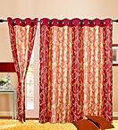 Cortina Charminar Maroon Eyelet Long Door Curtains (Set of 2)- 9 Ft