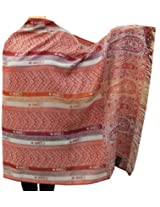 Womens Wool Shawl Scarves Paisley Indian Clothing (82 x 42 inches)