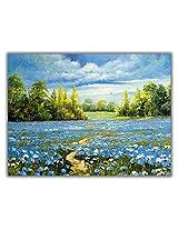 TIA Creation Flower Farm View canvas 0366 Print on Cotton Canvas 31inch x 22inch