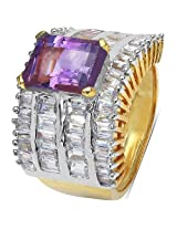 10.34 Grams Amethyst & White Cubic Zirconia Gold Plated Brass Ring