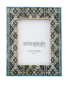 """Shiraleah 5"""" x 7"""" Tapestry Bone Picture Frame (Grey/Blue)"""