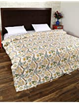 Elegant Hand Block Printed Cotton Duvet Cover Double White Floral By Rajrang