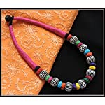 Pink thread choker with multiple color beads