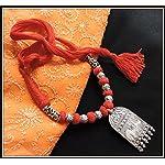 Elephant Pendant Thread Necklace - Red