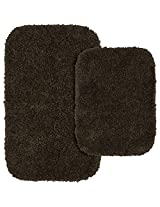 Garland Rug 2Piece Serendipity Shaggy Washable Nylon Bathroom Rug Set Chocolate