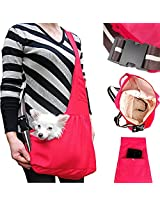 LUXMO Oxford Outward Fashion New Pet Sling-style carrier Pet Dog Cat sling Bag Hot Red Size:M