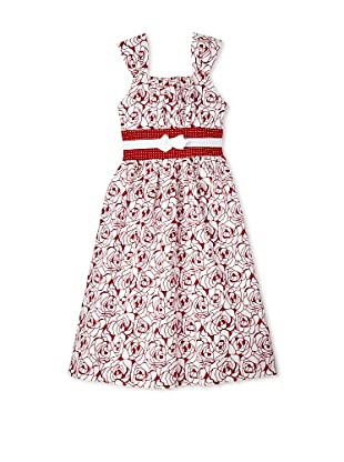 Jellybean of Miami Girl's Plus Size Floral Print Dress with Bow (Red/Ivory)