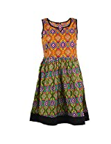 Karni Women's Cotton Green & Yellow Kurti