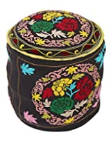 Traditional Round Black Ottoman Cotton Floral Embroidered Pouf Cover For Decor By Rajrang