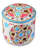 Colorfull Ottoman White Cotton Floral Embroidered Pouf Cover By Rajrang