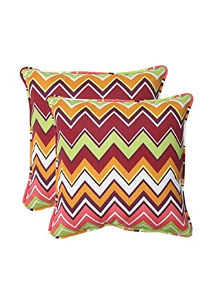 Pillow Perfect Set of 2 Outdoor Zig Zag Throw Pillows, Raspberry