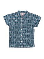 Spantajáparos Camisa Japonesa círculos (Azul)