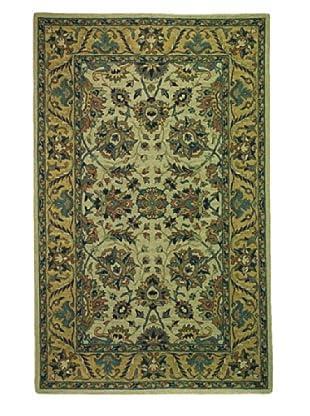 Kabir Handwoven Rugs Soumak Rug (Green Multi)