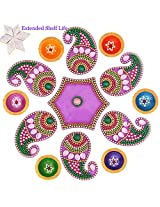 Ghasitaram Gifts Decorative Acrylic Rangoli R-1002 with Diyas and Kaju Katli
