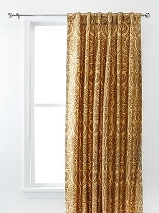 Silk Dupioni Gold Print Lined Panel (Versailles Sage Brown)
