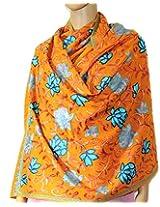 Indian Fashion Guru  Dark yellow  gift  woolen stole  stoles  Flower design  Embroidery stole  shawl