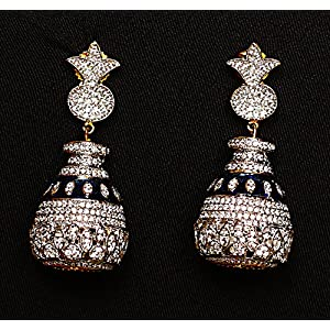 Gioielleria Fashion Swaroski studded in silver with blue kundan work Earring