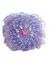 DollsofIndia Stone Studded Mauve Net Cloth Hair Clip - Syntyhetic Net - Mauve