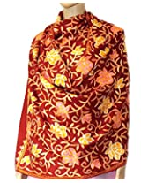 Indian Fashion Guru  Dark Red  gift  woolen stole  stoles  Flower design  Embroidery stole  shawl
