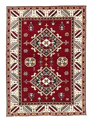 eCarpet Gallery One-of-a-Kind Hand-Knotted Royal Kazak Rug, Burgundy/Cream, 4' 9