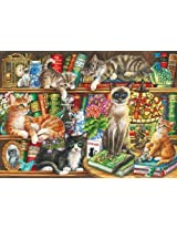 Gibsons Puss In Books Jigsaw Puzzle (1000-Piece) by Gibsons