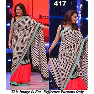 Madhuri Dixit In Designers Red And Black Saree On The Set Of Jhalakh Dikhlaja