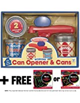 Let's Play House! Can Opener and Cans Pretend Play Food Set + FREE Melissa & Doug Scratch Art Mini-Pad Bundle [5247]