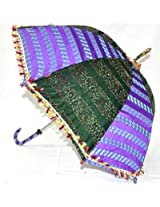 Indian Ethnic Vibrant Embroidery work Silk Umbrella Parasol 30 X 34 Inches