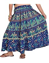 Exotic India Sanganeri Midi Skirt from Jodhpur with Printed Marriage Procession - Color Medieval BlueGarment Size Free Size