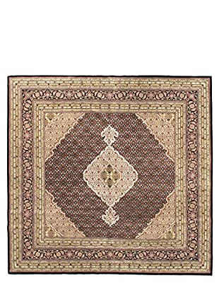 Hand-Knotted Tabriz Haj Jalili Wool & Silk Rug, Brown, 7' 11