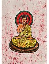 Exotic India Gautam Buddha - Batik Painting On Cotton