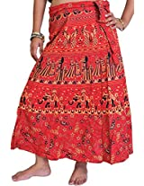 Exotic India Wrap-Around Sanganeri Skirt with Printed Marriage Procession - Color Recocco RedGarment Size Free Size