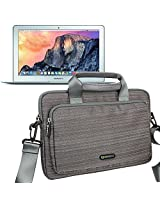 Evecase MacBook Air 11, 11.6 inch MacBook Air Laptop Shoulder Bag / Suit Fabric Multi-functional Briefcase Carrying Messenger Case Tote Bag w/ Handle and Shoulder Strap - Gray