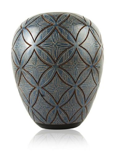 Chaka Diamond Vase, Blue/Tan, 9
