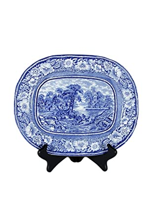 Rural England Blue Serving Plate, White/Blue