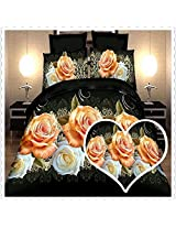 3 Or 4pcs 3D Rose Flowers Reactive Dyeing Polyester Fiber Bedding Set Queen Size