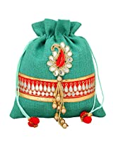 JaipurSe Ethnic Multi Silk Wedding Drawstring Women's Jute Potli Bag [Apparel]