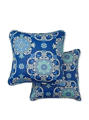 Set of 2 Garden Crest Square Decorative Throw Pillows (Marine)