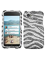 Aimo HTC FIRSTHPCDM010NP Dazzling Diamante Bling Case for HTC First - Retail Packaging - Black Zebra Skin