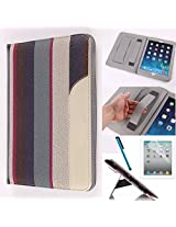 LYSTOCK iPad Air Case, Retro Stripe Multi-color PU Leather Handle Case, with Kickstand Protective Sleeve Case Cover for Apple iPad Air /ipad 5 (#4)