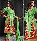 Green Embroidered Semi Stitched Salwar Suit
