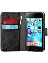 iPhone SE Case, [Wallet Case] Supcase **KickStand** Apple iPhone SE 2016 Release/Compatible with iPhone 5S/5 [Kickstand] Leather Cover with Credit Card ID Holders (Black)